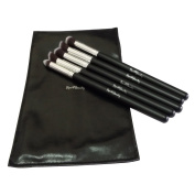 Eye Makeup Brushes Kit Set with FREE Cosmetic Leather Pouch - Concealer Stippling Flat, Mini Angled Round , Concealer Tapered , Eye shadow Primer Round, Contouring Angled Flat - Vegan Friendly Synthetic Bristles - Best for liquids, powder and Cream - P ..
