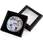 Shades of Blue Lady with Flowers and Butterfly Compact Mirror