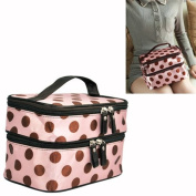 Gleader New Pink Women Retro Pro Dot Beauty Case Makeup Large Cosmetic Toiletry Bag