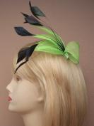 4314 Net & black feather fascinator Bright Neon Orange Pink Yellow Green Wedding