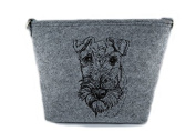 Airedale Terrier, grey bag, Shoulder bag with dog, Handbag, Pouch, High quality, Pet Lover, Purse, For Ladies, Women, Tote bag
