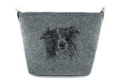 Border Collie, grey bag, Shoulder bag with dog, Handbag, Pouch, High quality, Pet Lover, Purse, For Ladies, Women, Tote bag