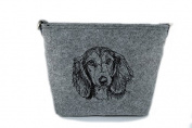 Dachshund Longhaired, grey bag, Shoulder bag with dog, Handbag, Pouch, High quality, Pet Lover, Purse, For Ladies, Women, Tote bag
