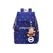 Foxnovo Girls Canvas Travel School Bag Backpack Rucksack with Bear Decoration