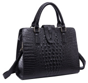 SAIERLONG HAD Women's Crocodile Black Cowhide Commuter Bag Handbag Shoulder Bag
