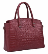 SAIERLONG HAD Women's European And American Style Red wine Genuine Leather Tote Handbag