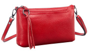 SAIERLONG HAD Women's Retro Red wine Genuine Leather Small Clutch Shoulder Bag Diagonal Package
