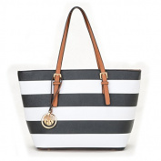 Black Leather Style Designer Striped Tote Bag Women Handbag