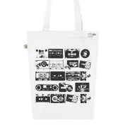 Tote Bag White with numbered Fashion Organic-Cotton Canvas vintage K7 N & B