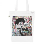 Tote Bag White Fashion numbered Canvas Print Organic Cotton Jean-Michel Basquiat