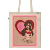 Tote Bag-Ecru-numbered Canvas Print Organic Cotton-Sweet love
