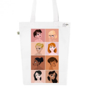 Tote Bag White Fashion numbered Canvas Print Organic Cotton-Portraits of women
