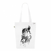 Tote Bag White with numbered Canvas Fashion Women's Organic Cotton-Wolf