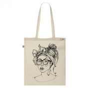 Tote Bag-Ecru-numbered Canvas Print Organic Cotton-Miss