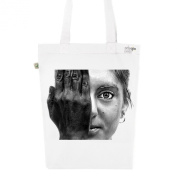 Tote Bag White Fashion numbered Canvas Print Organic Cotton Face