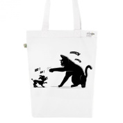 Tote Bag White Fashion numbered Canvas Print Organic Cotton-Cat Power