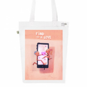 Tote Bag White Fashion numbered eLove Canvas Print Organic Cotton