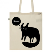 Tote Bag-Ecru-numbered Canvas Print Organic Cotton Quirky Cat-Black