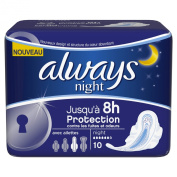Always Night Sanitary Pads with Wings x 10 - Pack of 4