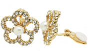 Flower Pearl Crystal Gold Clip On Earrings Ladies Stud Non-Pierced Diamante CZ Gatsby