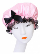 Moolecole Fashion Women's Bow-knot Waterproof Double Layer Shower Cap Big Polka Dots Printed Elastic Band Bathing Cap Spa Shower Hat Pink