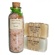 Uplifting Gift Set with Uplifting Bath Salt and two natural handmade soaps