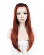 Side Part Long Straight Reddish Auburn Heat Resistant Synthetic Front Lace Wig