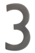 """Architectural Mailboxes 3582DC-3 Brass 4-Inch Floating House Number, Dark Aged Copper """"3"""""""