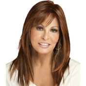 Orien Women Straight Medium Length Tilted Bang Brown Wig 50cm