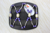 African Butterfly hair clip Beada Wire 3045 11cm Black comb