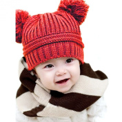 Atdoshop Cute Baby Kids Girl Boy Dual Balls Warm Winter Knitted Cap Hat Beanie