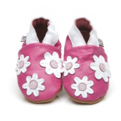Soft Leather Baby Shoes Little Flowers Pink 0-6 months