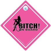 BITCH On Board Car Sign PINK, Baby On Board Sign Style, Bumper Sticker Style, Bitch Car Sign, Funny Car Signs, Car Sticker Sign Style