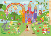 Happy Spaces (70 x 50 x 2 cm) Kids Wall Art Canvas Print Magical Fairy Castle by Liza Lewis