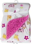 Baby Blanket Soft Colourful Mink Sherpa Lining Printed Design 0months+ 30° Wash - Jungle Animals Pink
