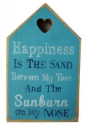 Happiness Beach Slogan Wooden House Plaques Signs Shabby Chic Gift