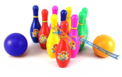 Large 10 Skittles 2 Balls Bowling Set Indoor Outdoor Garden Lawn Party Game Toy Kids