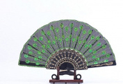 Domire Embroidered Flower Pattern Black Cloth Folding Hand Fan for Woman.green
