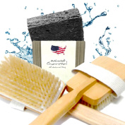 Natural Boar Bristle Dry Skin Brush Set For Men and Women With Activated Charcoal Soap & Free Cedar Wood Soap Dish. Learn Dry Brushing Skin Brush Secrets to Improve Health & Well-Being with Bonus E-Book.