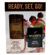 Woody's Grooming Kit for Men - Hair & Body Wash, Mega Firm Gel