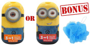 Despicable Me Minion 3-in-1 Bodywash, Shampoo & Conditioner W/ FREE Bath Sponge Pouffe for Kids