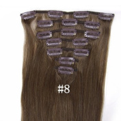 #8 Medium Ash Brown 38cm 46cm 50cm 60cm 70cm Fashional Clips in Remy Human Hair Extensions For Full Head. 46cm 7pcs total 70g)