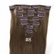 #8 Medium Ash Brown 38cm 46cm 50cm 60cm 70cm Fashional Clips in Remy Human Hair Extensions For Full Head. 46cm 7pcs total 70g)