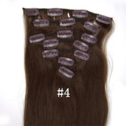#4 Medium Brown 38cm 46cm 50cm 60cm 60cm 70cm 70cm Fashional Clips in Remy Human Hair Extensions For Full Head. 60cm 8pcs total 100g)