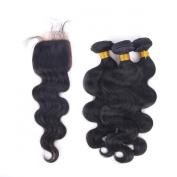 Enoya Hair Dyeable Brazilian Body Wave Hair 3 Bundles with Free Part 10cm x 10cm Closure Bleached Knots
