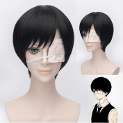 Wigle 32cm Tokyo Ghoul Anime Ken Kaneki Cosplay Party Short Wig with Free Wig Cap