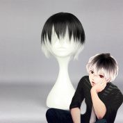Wigle 41cm Tokyo Ghoul Anime Ken Kaneki Cosplay Party Short Wig with Free Wig Cap