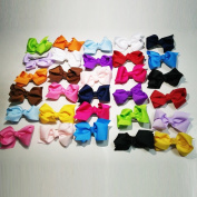 Bzybel 30 Pcs 7.6cm Baby Girl's Boutique Hair Bows Grosgrain Ribbon Bows Baby Shower Gift Alligator Clips Hair Clips 15 Colours