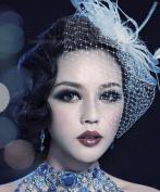 Pretty Box Wedding Headdress Women Cream White Feather Bowknot Net Mesh Fascinator Hair Clip and Cocktail Hat