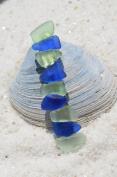 Genuine Cobalt Blue Sea Glass and Aqua French Barrette